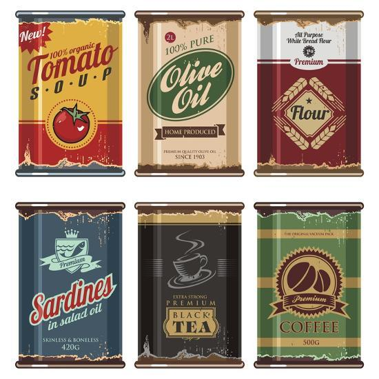 Retro Food Cans Collection-Lukeruk-Art Print