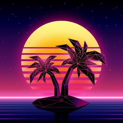 Retro Futuristic Background 1980S Style. Digital Palm Tree on a Cyber Ocean in the Computer World.-More Trendy Design here-Art Print
