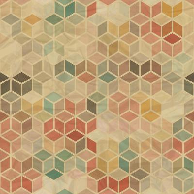 Retro Geometric Cube Pattern-incomible-Art Print