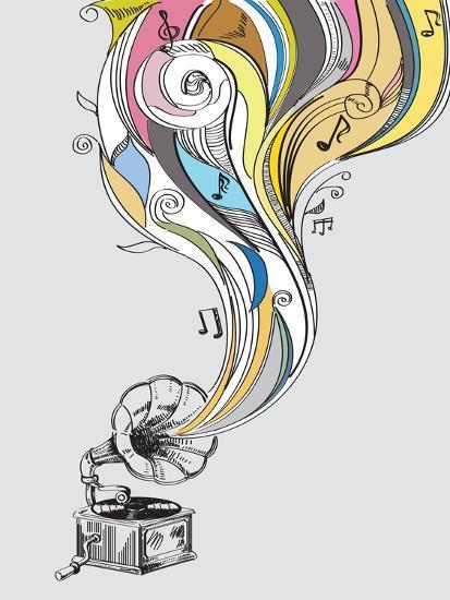 Retro Gramophone-bioraven-Art Print