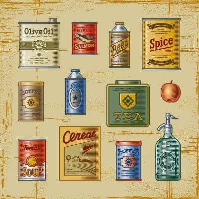Retro Grocery Set-Oleg Iatsun-Art Print