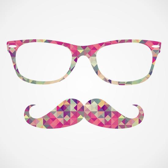 Retro Hipster Face Geometric Icons-cienpies-Art Print