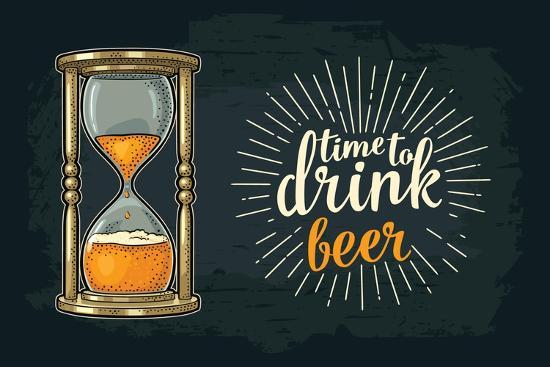 Retro Hourglass. Time to Drink Beer Lettering. Vector Color Vintage Illustration Outline. Isolated-MoreVector-Art Print