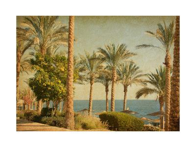 Retro Image Of Beach With Date Palms Amid The Blue Sea And Sky. Paper Texture-A_nella-Art Print