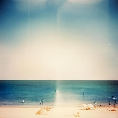 Retro Medium Format Photo. Sunny Day On The Beach. Grain, Blur Added As Vintage Effect-donatas1205-Art Print