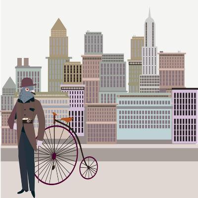 Retro New York Illustration - Vintage Bird On A Bike-run4it-Art Print