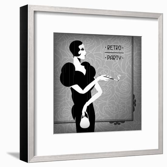 Retro Party Background with Beautiful Girl of 1920s Style-incomible-Framed Art Print