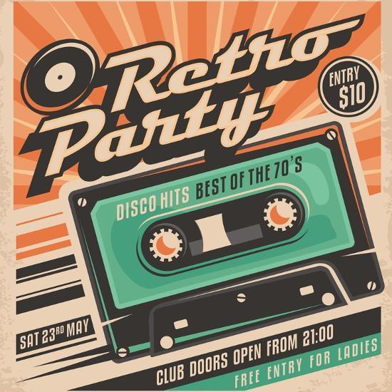 Retro Party Poster Design-Lukeruk-Art Print