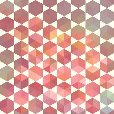 Retro Pattern of Geometric Hexagon Shapes-Little_cuckoo-Art Print