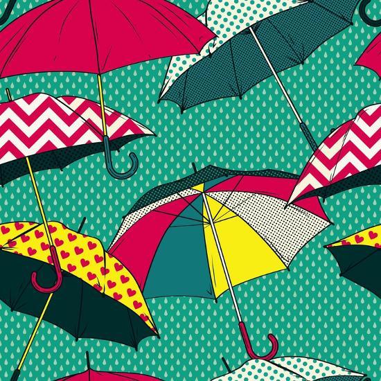 Retro Pattern with Colorful Umbrellas-Primsky-Art Print
