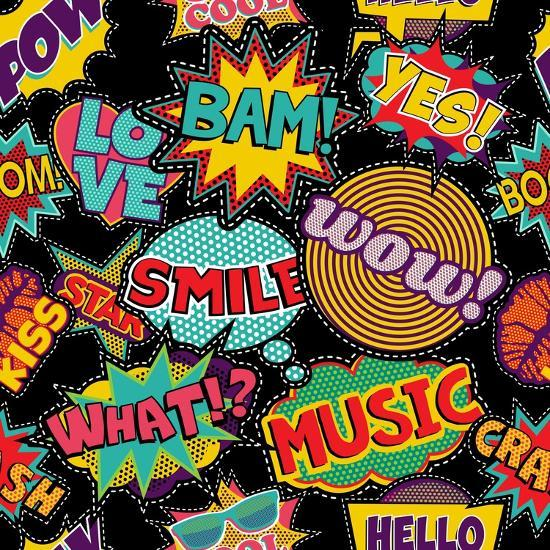 Retro Pop Art Style Pattern with Vintage Comic Book Quotes and Explosions-Cienpies Design-Art Print