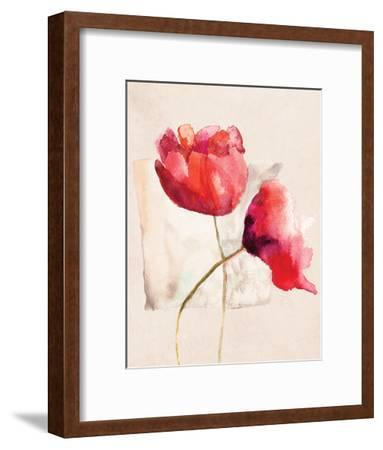 Retro Poppy Watercolor-R. Jersova-Framed Art Print