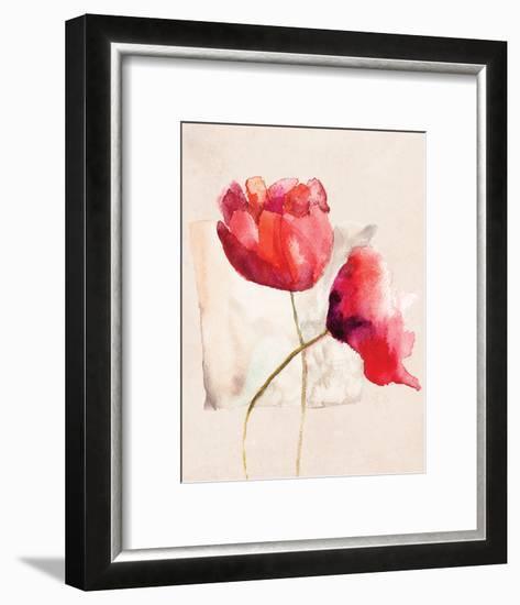 Retro Poppy Watercolor-R. Jersova-Framed Art Print