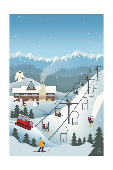 Retro Ski Resort-Lantern Press-Art Print