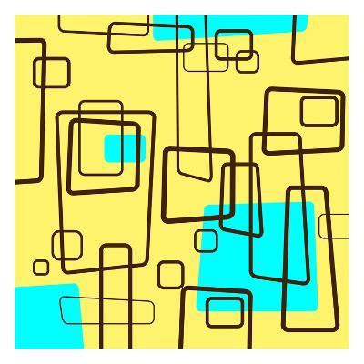 Retro Square Pattern Blue and Yellow--Giclee Print
