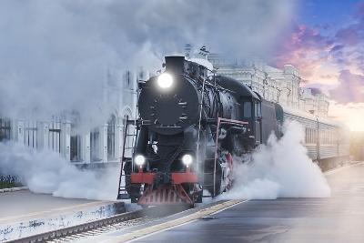 Retro Steam Train.-Breev Sergey-Photographic Print
