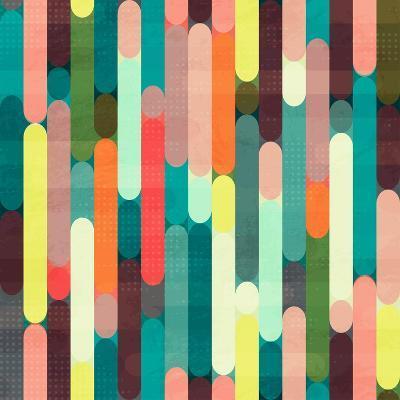 Retro Stripe Seamless Pattern with Grunge Effect- gudinny-Art Print