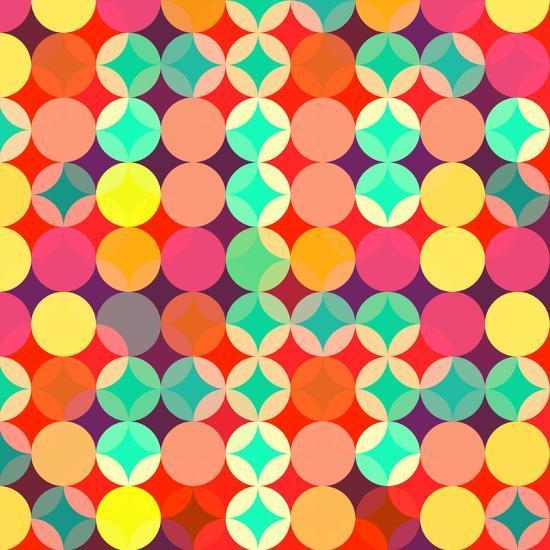 Retro Style Abstract Colorful Background-HAKKI ARSLAN-Art Print