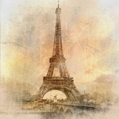 Retro Styled Background - Eiffel Tower-Maugli-l-Art Print