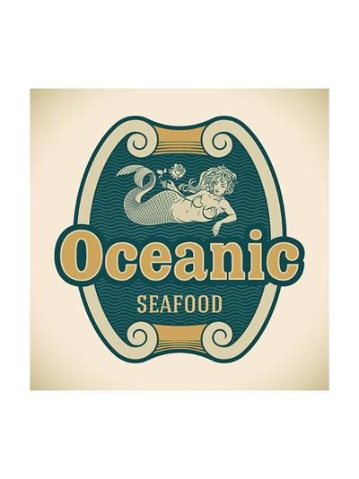Retro-Styled Seafood Label Including An Image Of Mermaid-Arty-Art Print