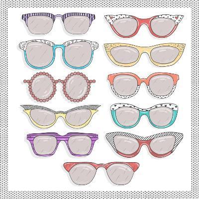 Retro Sunglasses Set-cherry blossom girl-Art Print