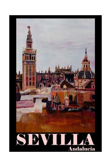 Retro Vintage Poster of Seville Spain Andalucia-Markus Bleichner-Photographic Print