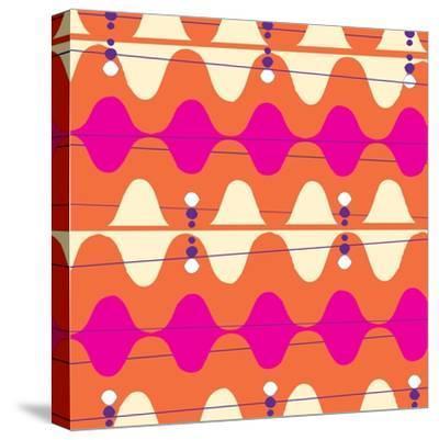 Retro Wave Pattern Orange--Stretched Canvas Print