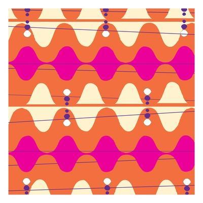 Retro Wave Pattern Orange--Giclee Print