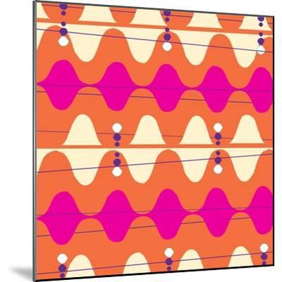 Retro Wave Pattern Orange--Mounted Giclee Print