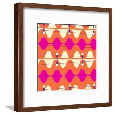 Retro Wave Pattern Orange--Framed Giclee Print
