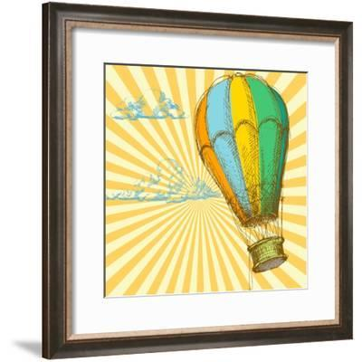 Retro With Hot Air Balloon; Also Available In My Gallery-Danussa-Framed Premium Giclee Print