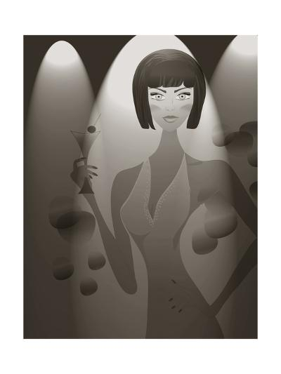 Retro Woman In A Club. Beautiful Girl With A Martini Cocktail-Aleksa_D-Art Print