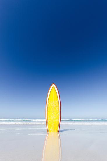 Retro Yellow Surf Board and Blue Sky. Australia.-John White Photos-Photographic Print
