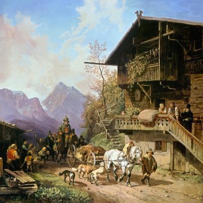 Return from the Bearhunting, 1839-Heinrich Bürkel-Giclee Print