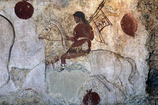 Return of a warrior, Lucan tomb painting, Paestum, c4th century BC-Unknown-Giclee Print