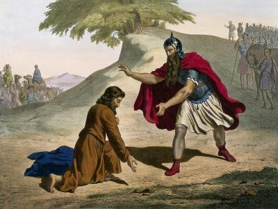 Return of Jacob and His Meeting with Esau from Old Testament--Giclee Print