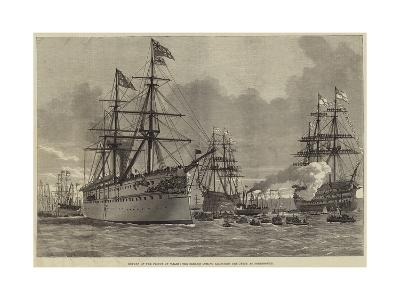 Return of the Prince of Wales, the Serapis Coming Alongside the Jetty at Portsmouth--Giclee Print