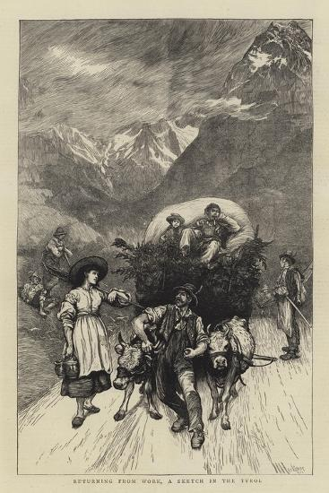 Returning from Work, a Sketch in the Tyrol-Hubert von Herkomer-Giclee Print