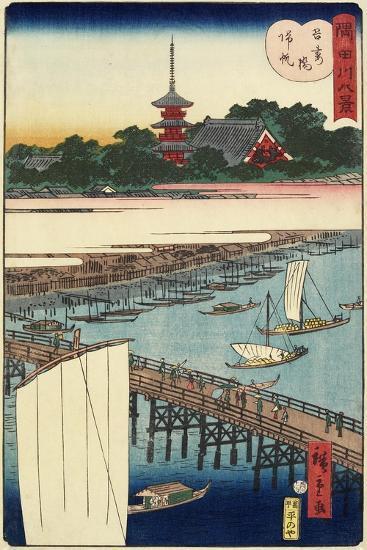 Returning Sails at Azuma Bridge, November 1861--Giclee Print