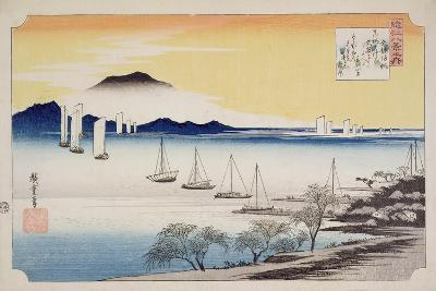 Returning Sails at Yabase, from the Series, '8 Views of Omi', C.1834-Ando Hiroshige-Giclee Print