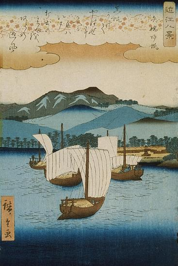 Returning Sails at Yabase from the Series Eight Views of Omi, c.1855-8-Ando or Utagawa Hiroshige-Giclee Print