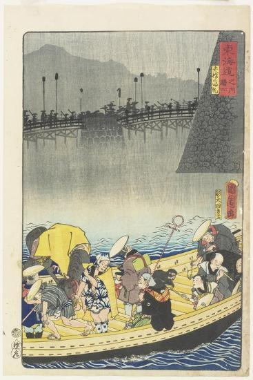 Returning Sails at Yabase in Zeze, April 1863-Toyohara Kunichika-Giclee Print