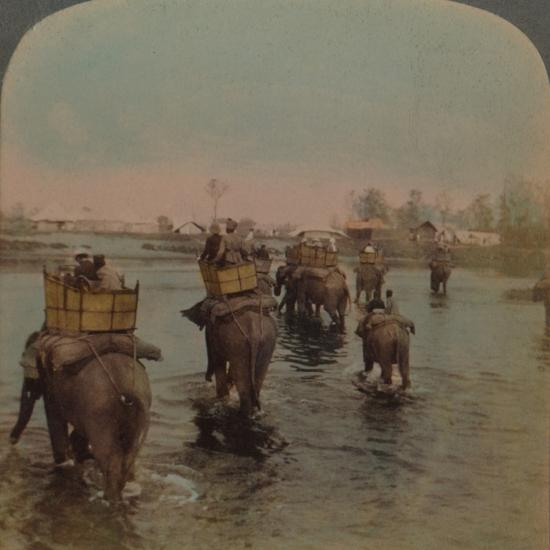'Returning to camp after a day's shoot, Bebar jungle, India', 1909-Elmer Underwood-Photographic Print