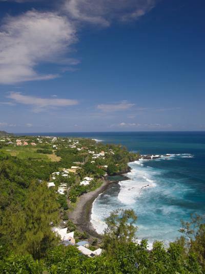 Reunion Island, South Reunion, Manapany-Les-Bains Seaside Town-Walter Bibikow-Photographic Print