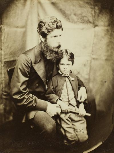 Rev. James Langton Clark and Son Charles (Robin), 1864-Lewis Carroll-Photographic Print