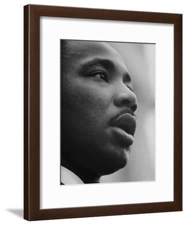 Rev. Martin Luther King Jr. Speaking at 'Prayer Pilgrimage for Freedom' at Lincoln Memorial-Paul Schutzer-Framed Premium Photographic Print