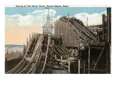 Revere Beach, Massachusetts - View of Derby Racer-Lantern Press-Art Print