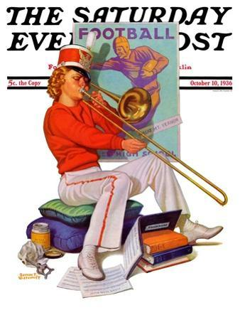 """""""Practicing the Trombone,"""" Saturday Evening Post Cover, October 10, 1936"""