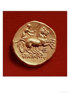 Reverse of a Stater of Philip II of Macedonia Depicting a Charioteer, 356-336 BC