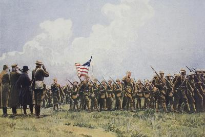 Review of United States Troops in France, March, 1918--Giclee Print